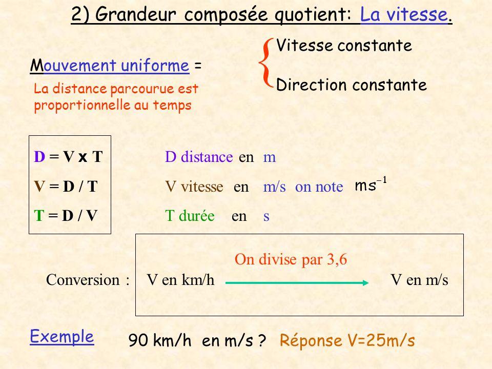 Vitesse constante Mouvement uniforme = Direction constante { La distance parcourue est proportionnelle au temps D = V x T V = D / T T = D / V D distan