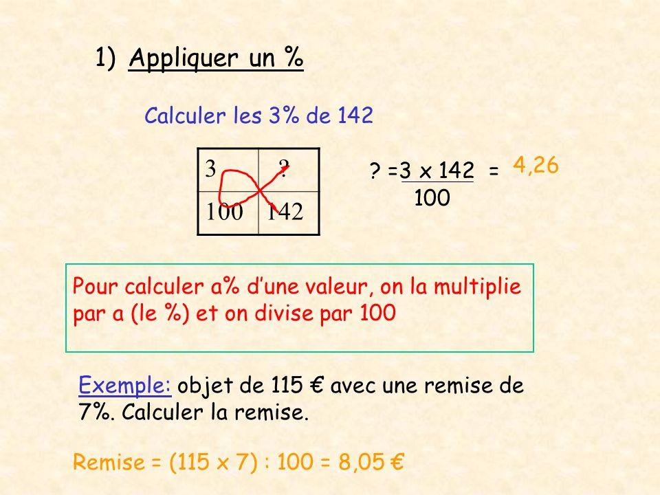 1)Appliquer un % Calculer les 3% de 142 3 ? 100142 ? =3 x 142 = 100 4,26 Pour calculer a% dune valeur, on la multiplie par a (le %) et on divise par 1