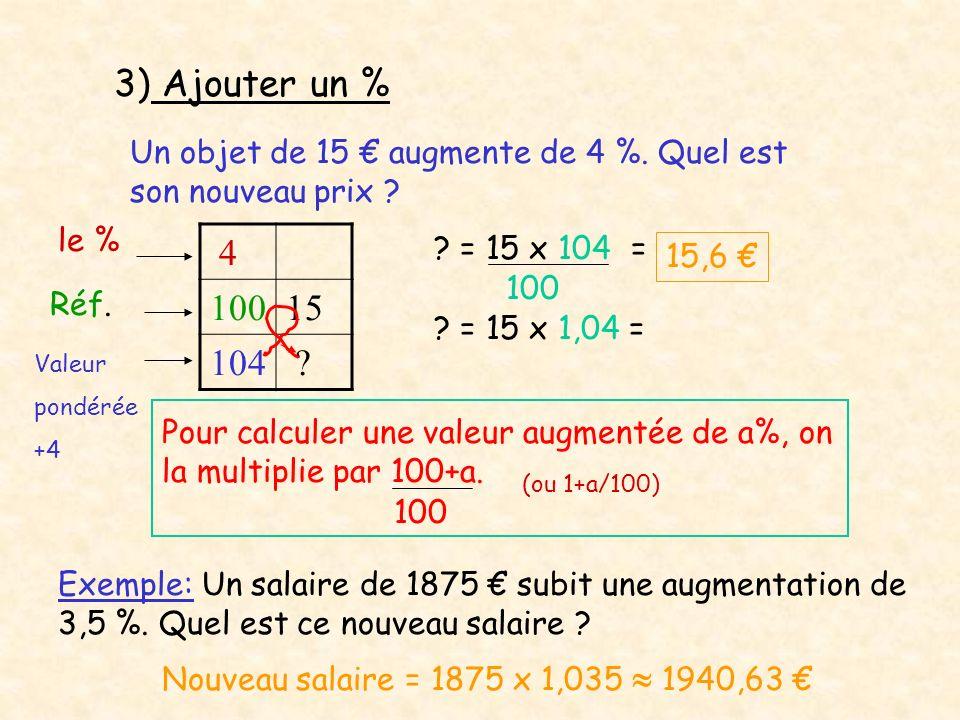 3) Ajouter un % Un objet de 15 augmente de 4 %. Quel est son nouveau prix ? 4 10015 104 ? ? = 15 x 104 = 100 15,6 ? = 15 x 1,04 = le % Réf. Valeur pon