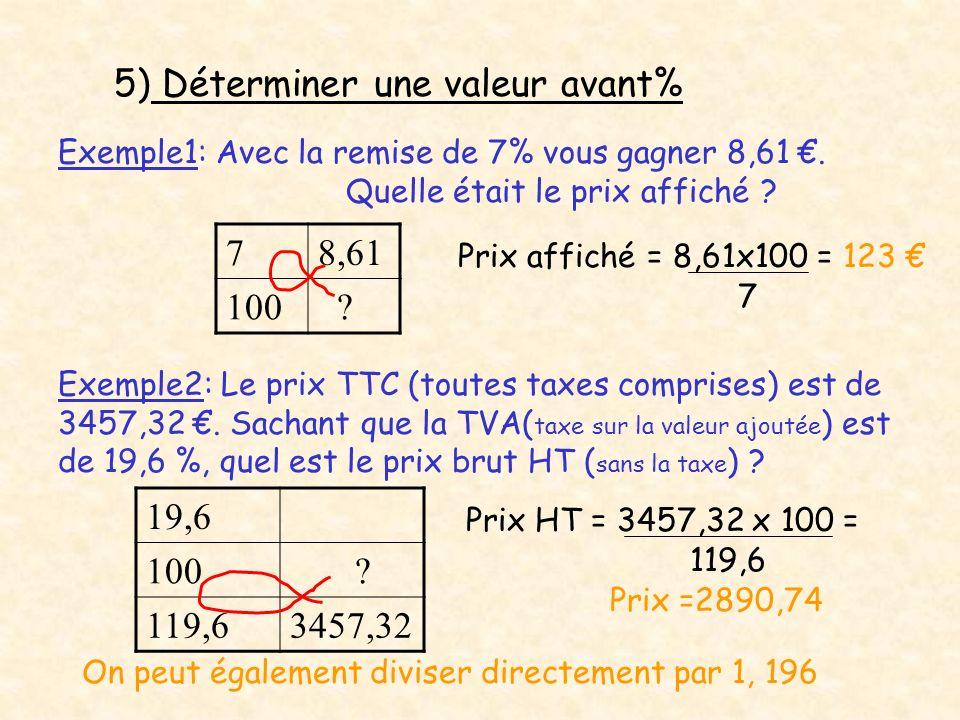 5) Déterminer une valeur avant% Exemple1: Avec la remise de 7% vous gagner 8,61. Quelle était le prix affiché ? 78,61 100 ? Prix affiché = 8,61x100 =