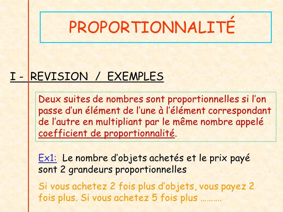 PROPORTIONNALITÉ I - REVISION / EXEMPLES Deux suites de nombres sont proportionnelles si lon passe dun élément de lune à lélément correspondant de lau