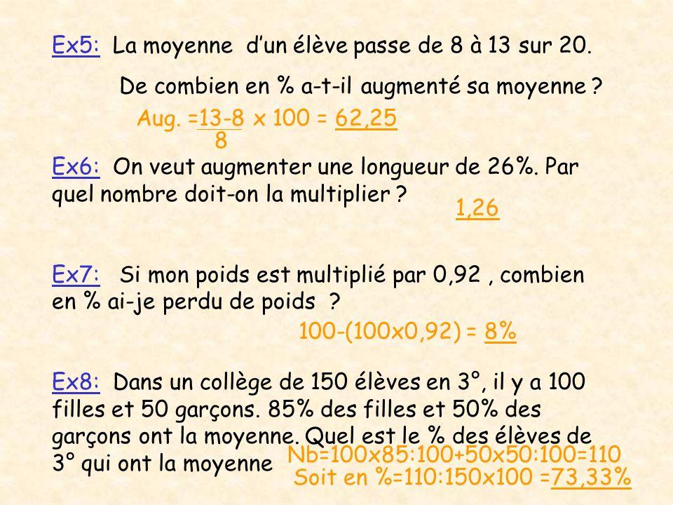 Ex5: La moyenne dun élève passe de 8 à 13 sur 20. De combien en % a-t-il augmenté sa moyenne ? Ex6: On veut augmenter une longueur de 26%. Par quel no