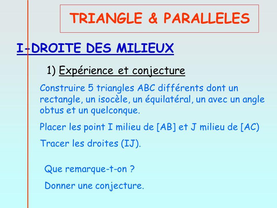 TRIANGLE & PARALLELES I-DROITE DES MILIEUX 1) Expérience et conjecture Construire 5 triangles ABC différents dont un rectangle, un isocèle, un équilat
