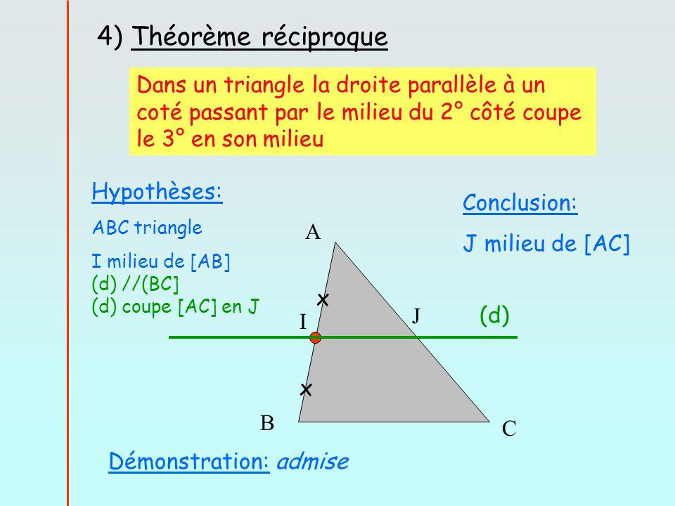 4) Théorème réciproque Démonstration: admise Dans un triangle la droite parallèle à un coté passant par le milieu du 2° côté coupe le 3° en son milieu