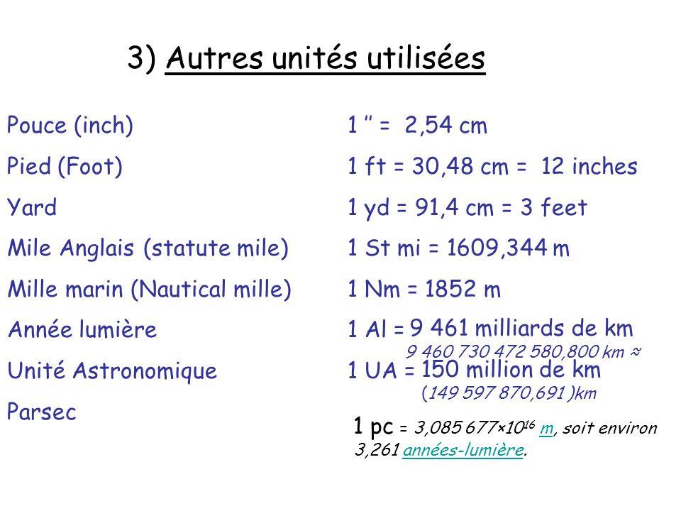 3) Autres unités utilisées Pouce (inch)1 = 2,54 cm Pied (Foot)1 ft = 30,48 cm = 12 inches Yard1 yd = 91,4 cm = 3 feet Mile Anglais(statute mile)1 St mi = 1609,344 m Mille marin (Nautical mille) 1 Nm = 1852 m Année lumière1 Al = Unité Astronomique1 UA = Parsec 9 461 milliards de km 9 460 730 472 580,800 km 150 million de km (149 597 870,691 )km 1 pc = 3,085 677×10 16 m, soit environ 3,261 années-lumière.mannées-lumière