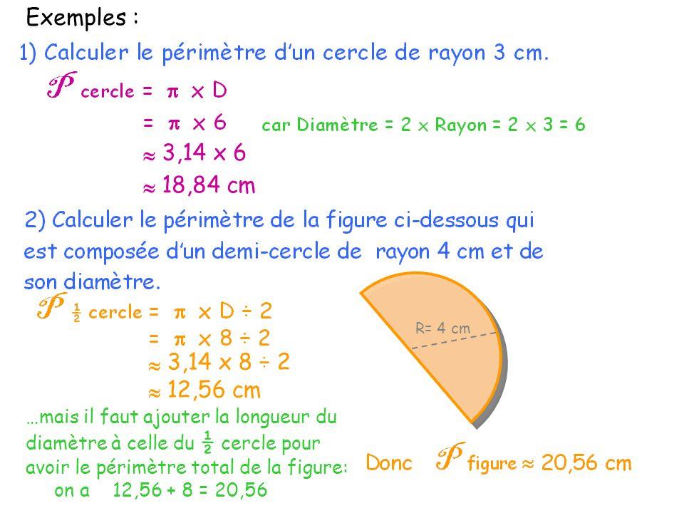 Exemples : 3,14 x 8 ÷ 2 R= 4 cm 12,56 cm 3,14 x 6 18,84 cm …mais il faut ajouter la longueur du diamètre à celle du ½ cercle pour avoir le périmètre total de la figure: on a 12,56 + 8 = 20,56