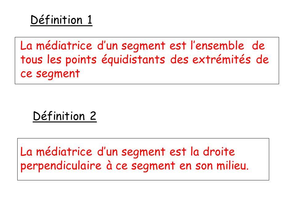 Définition 1 Définition 2 La médiatrice dun segment est lensemble de tous les points équidistants des extrémités de ce segment La médiatrice dun segment est la droite perpendiculaire à ce segment en son milieu.