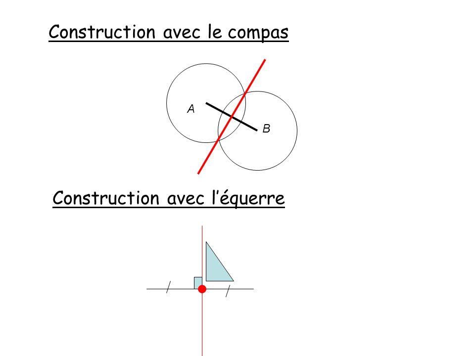 Construction avec le compas Construction avec léquerre A B