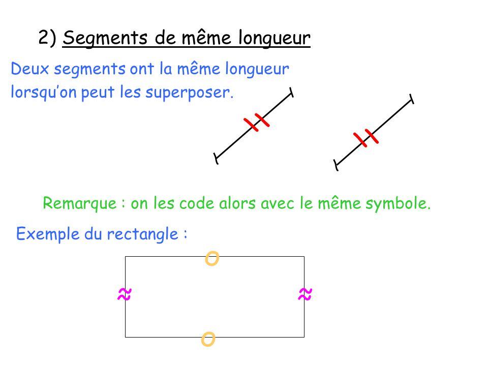 Deux segments ont la même longueur lorsquon peut les superposer. Remarque : on les code alors avec le même symbole. Exemple du rectangle : о о \\ 2) S
