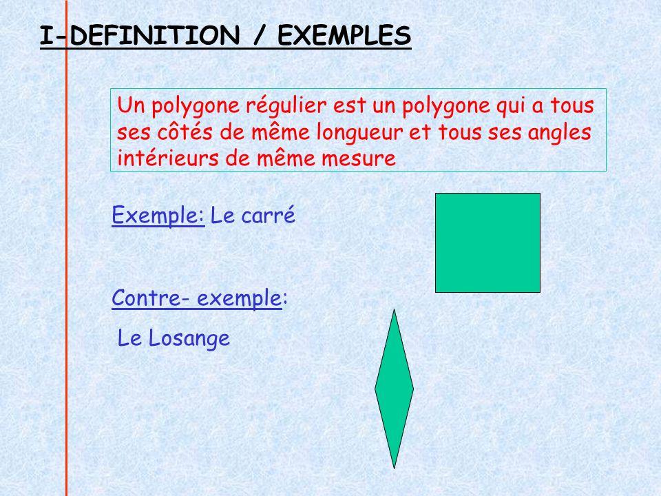 I-DEFINITION / EXEMPLES Un polygone régulier est un polygone qui a tous ses côtés de même longueur et tous ses angles intérieurs de même mesure Exemple: Le carré Contre- exemple: Le Losange