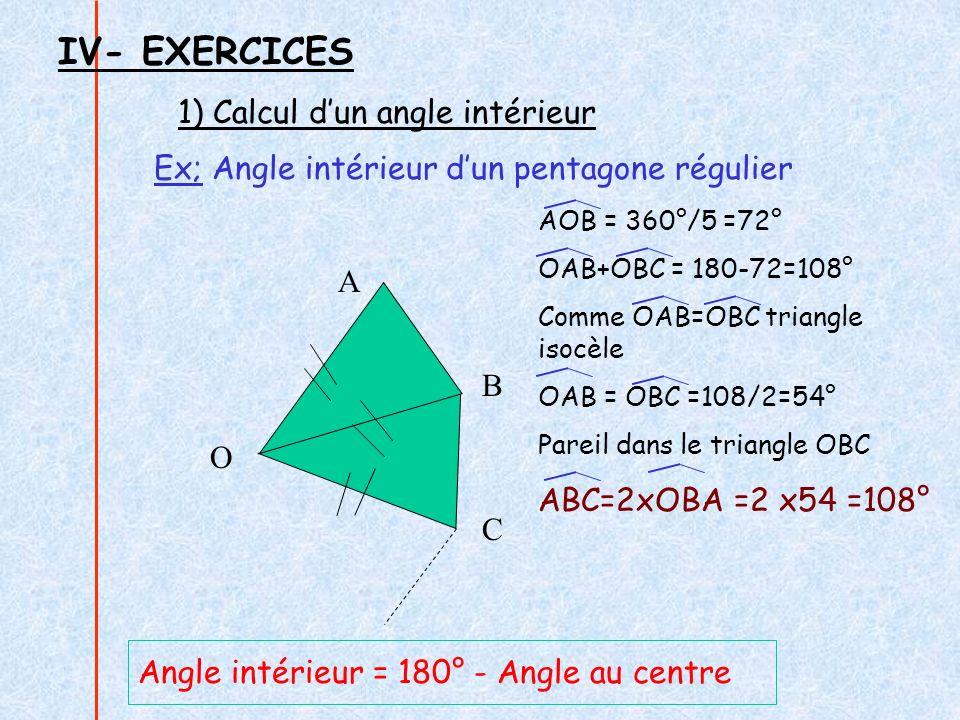 2) Calcul dun côté Ex; Coté dun pentagone régulier inscrit dans un cercle de rayon 3,5 cm.
