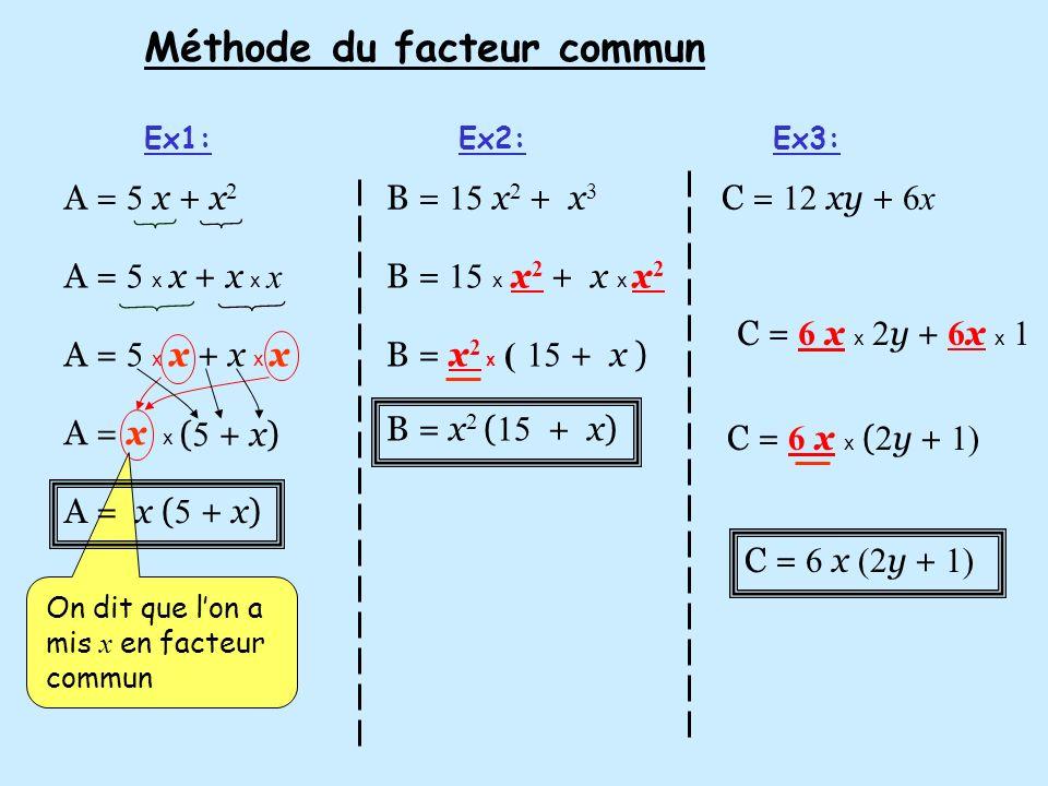 Méthode du facteur commun Ex1:Ex2:Ex3: A = 5 x + x 2 B = 15 x 2 + x 3 C = 12 xy + 6x A = 5 x x + x x x A = x x A = x ( 5 + x) ( 5 + x) B = x 2 x (15 +