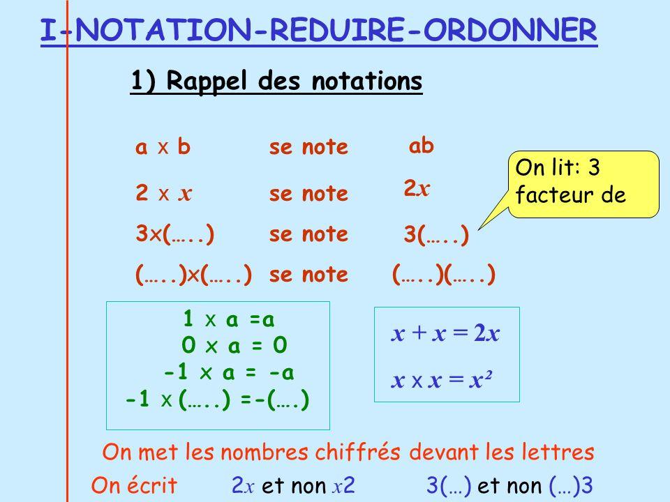 Autres formules appelées parfois « double distributivité » (a + b ) ( c + d) = ac + ad + bc + bd (a + b ) ( c - d) = ac - ad + bc - bd (a - b ) ( c + d) = ac + ad - bc - bd (a - b ) ( c - d) = ac - ad - bc + bd