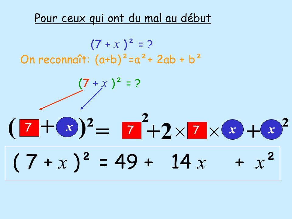 ² ² ( + )² =+2+ Pour ceux qui ont du mal au début (7 + x )² = ? On reconnaît: (a+b)²=a²+ 2ab + b² (7 + x )² = ? 7 x 77 xx ( 7 + x )² = 49 + 14 x + x ²