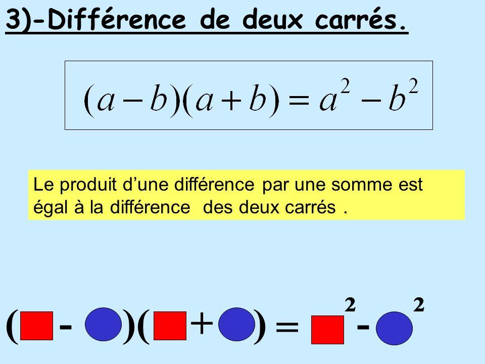 ( - )( + ) = ² - ² 3)-Différence de deux carrés. Le produit dune différence par une somme est égal à la différence des deux carrés.
