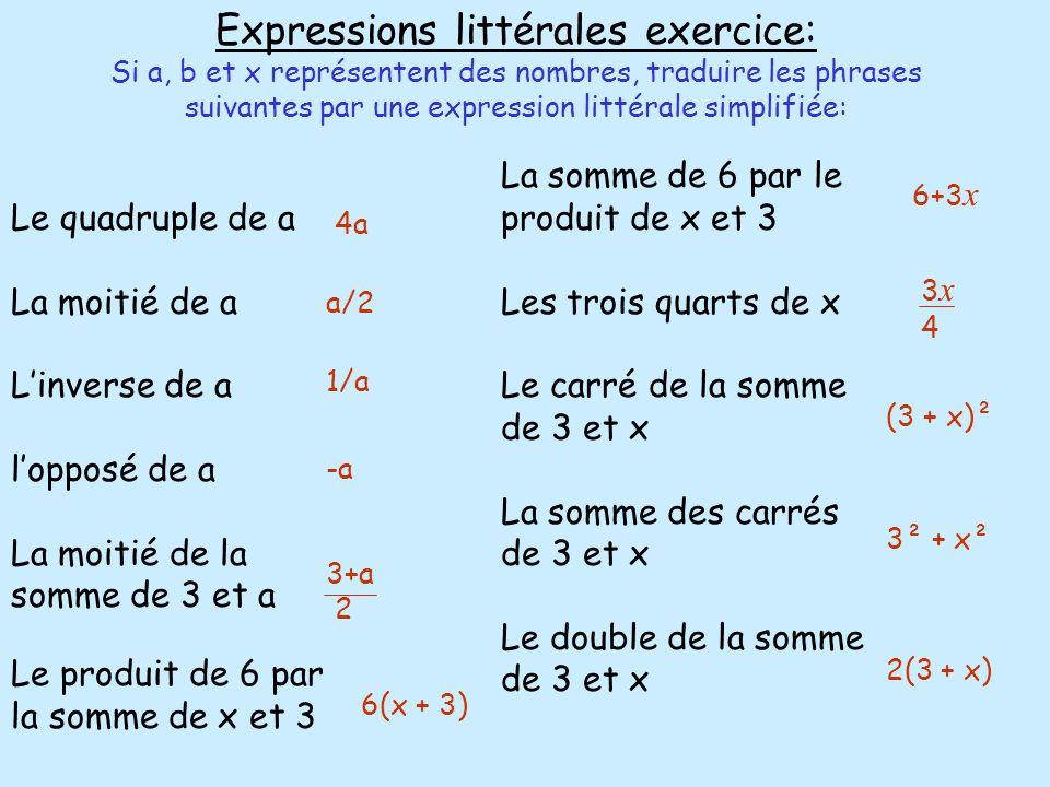 Expressions littérales exercice: Si a, b et x représentent des nombres, traduire les phrases suivantes par une expression littérale simplifiée: Le qua