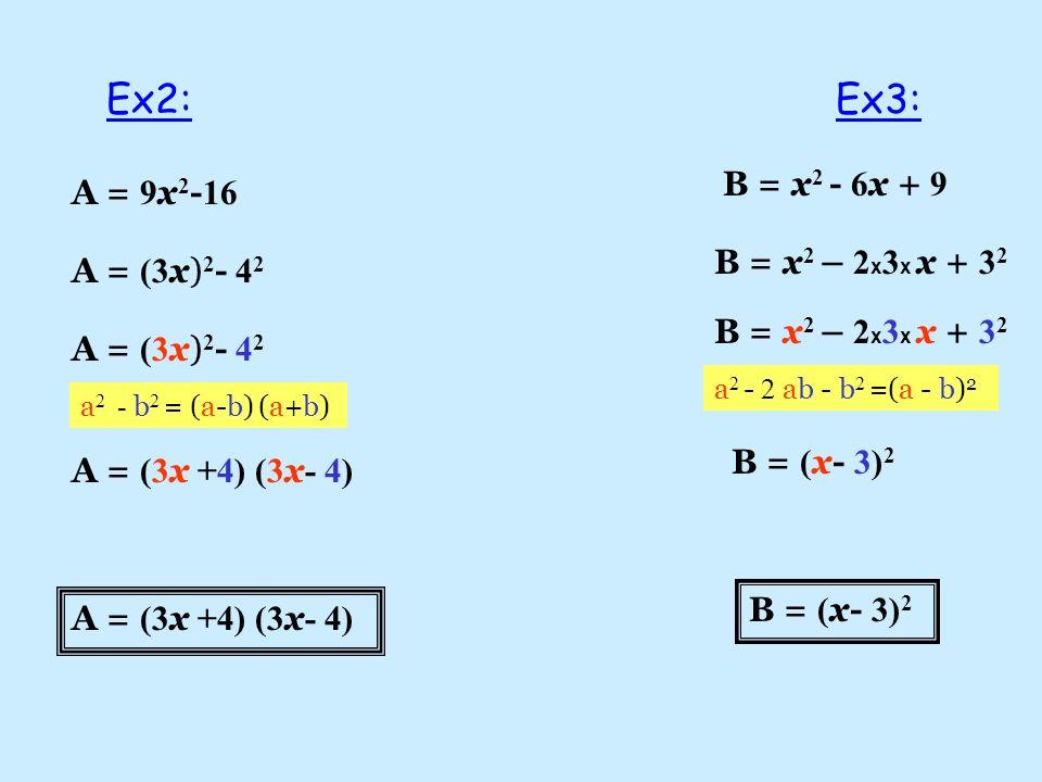 A = 9 x 2 - 16 A = (3 x) 2 - 4 2 A = (3 x +4) (3 x - 4) B = x 2 - 6 x + 9 B = x 2 – 2 x 3 x x + 3 2 B = ( x- 3) 2 Ex2:Ex3: a 2 - b 2 = (a-b) (a+b) a 2