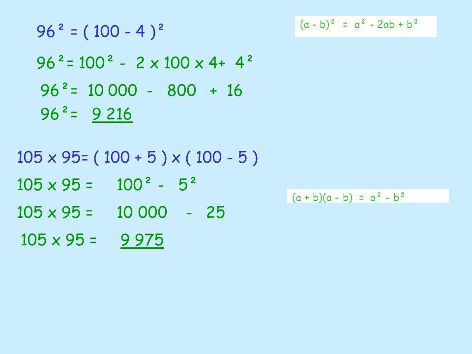 96² = ( 100 - 4 )² (a - b)² = a² - 2ab + b² 96²= 100² - 2 x 100 x 4+ 4² 96²= 10 000 - 800 + 16 96²= 9 216 105 x 95= ( 100 + 5 ) x ( 100 - 5 ) (a + b)(