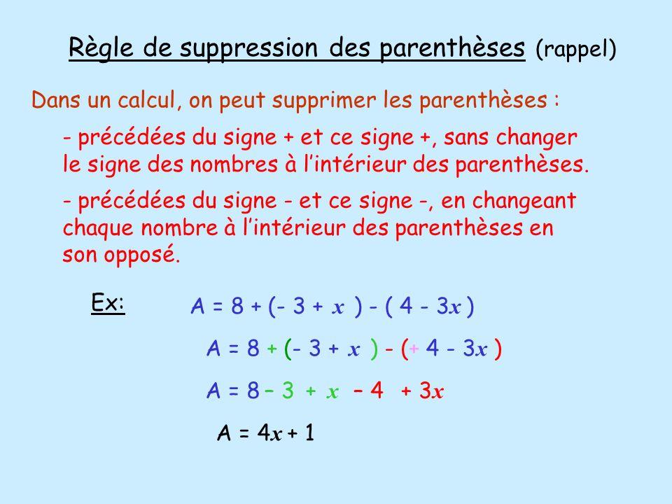 2) Réduire une somme (Rappel) Pour réduire une somme, on regroupe les termes de mêmes « mots mathématiques », puis on les ajoute ensemble.