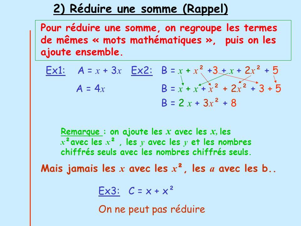 3) Ordonner une expression (Rappel) On range les termes suivant les puissances dune lettre A = x + 3x² – 3 A = -3 + x +3x² Ordre croissant A = x + 3x² - 3 A = 3x² + x - 3 Ordre décroissant On a ordonné suivant les puissances de x Ex: Ranger suivant les puissances décroissantes de x: B = 5x – 5 + 7x³ - 8x² B = 7x³- 8x² + 5x - 5