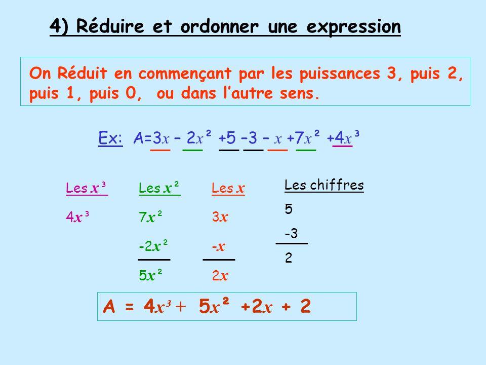 Ex1: A = 3 x x 5 x 2 x A =3 x 5 x 2 x x x x A = 30 x x ² A = 30 x ² 5)-Réduire ou simplifier un produit Pour réduire un produit, on multiplie les nombres chiffrés ensemble et les mêmes lettres ensemble On utilise la règle du: Signes Chiffres Lettres Ex2: B = -3 x 5 x x ² x 7 x ( -x ) Signes Chiffres Lettres - par - = + 3x5x7 =105 x ² x x = x ³ B = 105 x ³