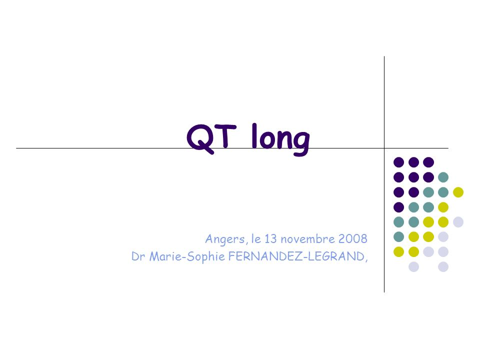 Les points que nous allons développer… 1° Quest ce que le syndrôme du QT long 2° Le QTm (mesuré) 3° Le QTc (corrigé) 4° Le syndrôme du QT long : sa forme congénitale 5° Le QT long et sa forme acquise Quid des neuroleptiques.