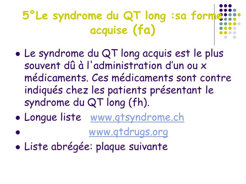 5°Le syndrome du QT long :sa forme acquise (fa) Le syndrome du QT long acquis est le plus souvent dû à l'administration dun ou x médicaments. Ces médi