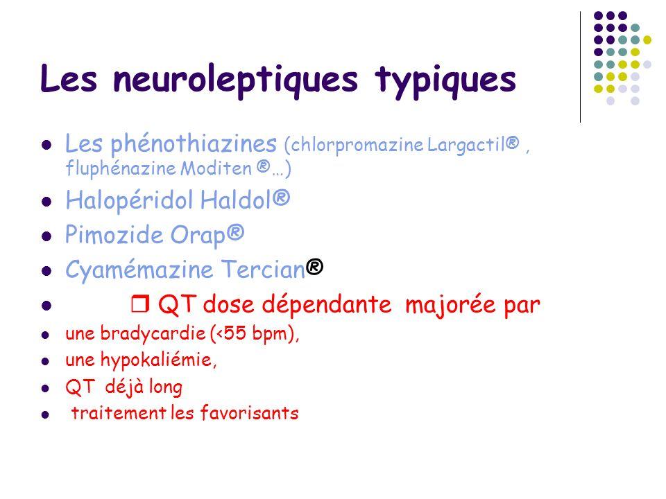 Les neuroleptiques typiques Les phénothiazines (chlorpromazine Largactil®, fluphénazine Moditen ®…) Halopéridol Haldol® Pimozide Orap® Cyamémazine Ter