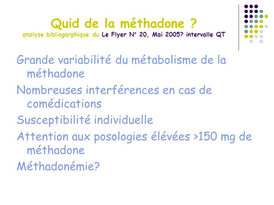 Quid de la méthadone ? analyse bibliogarphique du Le Flyer N° 20, Mai 2005? intervalle QT Grande variabilité du métabolisme de la méthadone Nombreuses
