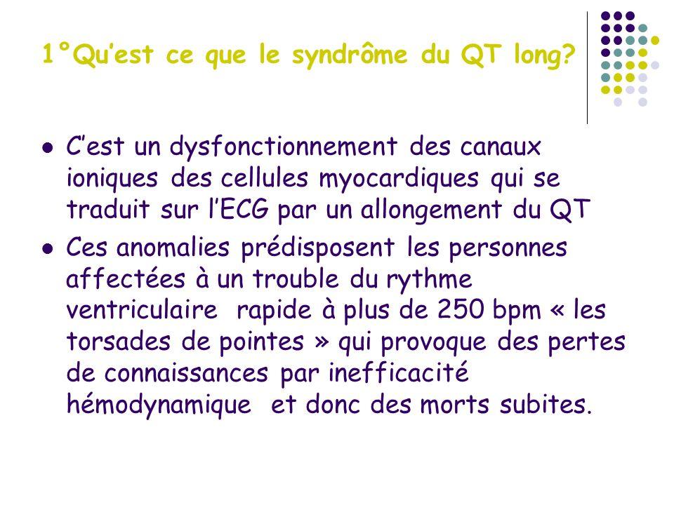 1°) le syndrôme du QT long Exemple de torsade de pointe: Évolution spontanée de la torsade spontanée: Arrêt spontané, tachycardie ou fibrillation ventriculaire Traitement: sulfate de magnésium, accélération de la Fc (atropine, isuprel, entrainement électrosystolique externe), tt facteur déclenchant (ca++, k+)