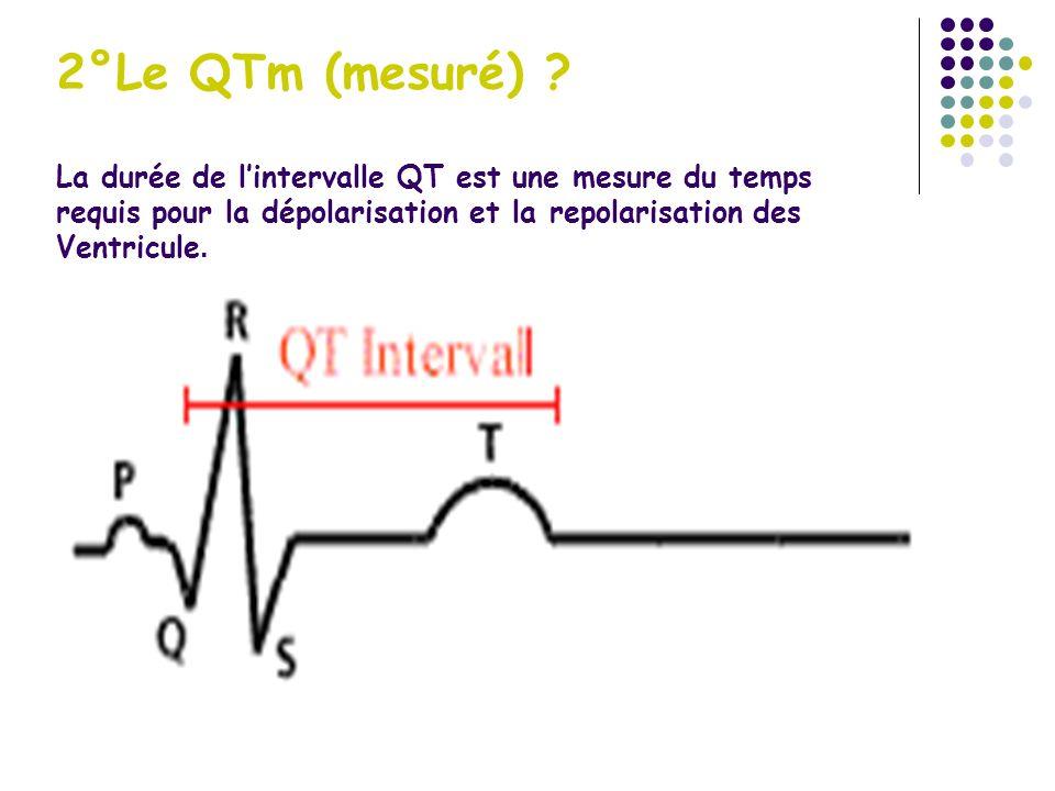 2°Le QTm (mesuré) ? La durée de lintervalle QT est une mesure du temps requis pour la dépolarisation et la repolarisation des Ventricule.