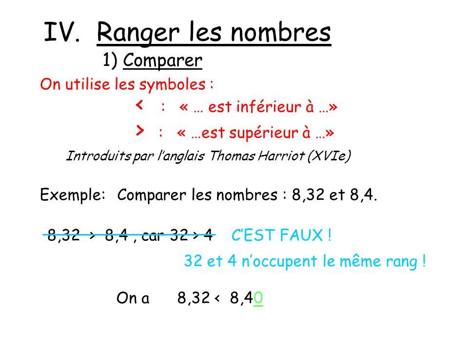 IV. Ranger les nombres 1) Comparer On utilise les symboles : < : « … est inférieur à …» > : « …est supérieur à …» Introduits par langlais Thomas Harri