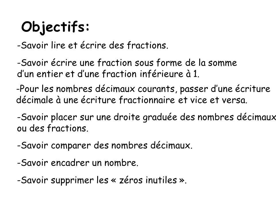 Objectifs: -Savoir lire et écrire des fractions. -Savoir écrire une fraction sous forme de la somme dun entier et dune fraction inférieure à 1. -Pour