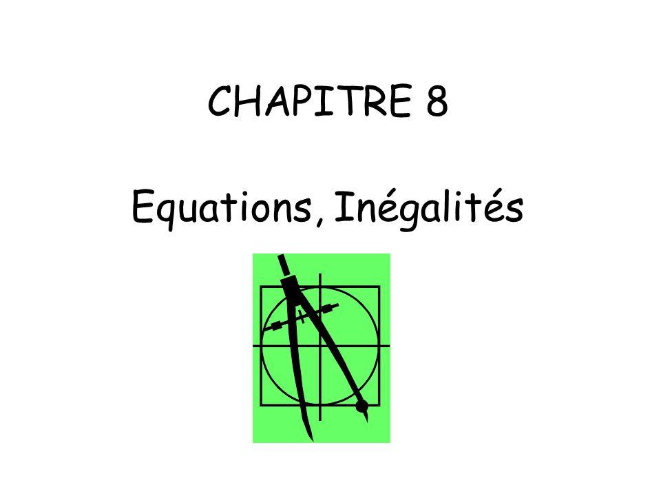 CHAPITRE 8 Equations, Inégalités