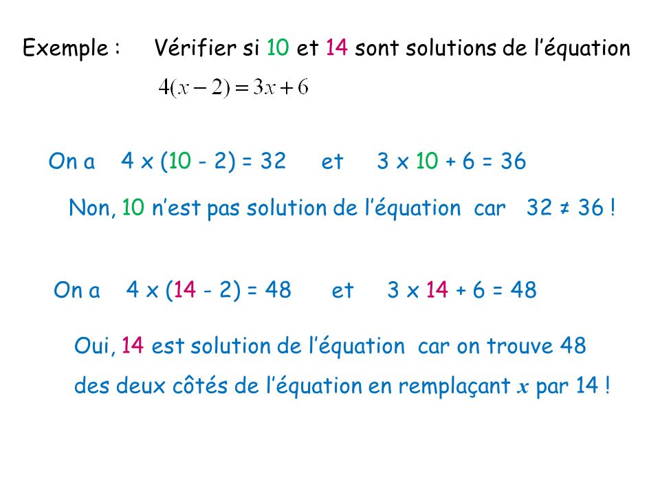 Exemple : Vérifier si 10 et 14 sont solutions de léquation On a 4 x (10 - 2) = 32 et 3 x 10 + 6 = 36 Non, 10 nest pas solution de léquation car 32 36