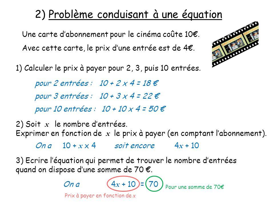 2) Problème conduisant à une équation Une carte dabonnement pour le cinéma coûte 10. Avec cette carte, le prix dune entrée est de 4. 1) Calculer le pr