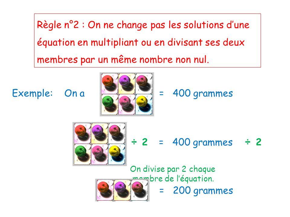 Règle n°2 : On ne change pas les solutions dune équation en multipliant ou en divisant ses deux membres par un même nombre non nul. Exemple: On a = 40