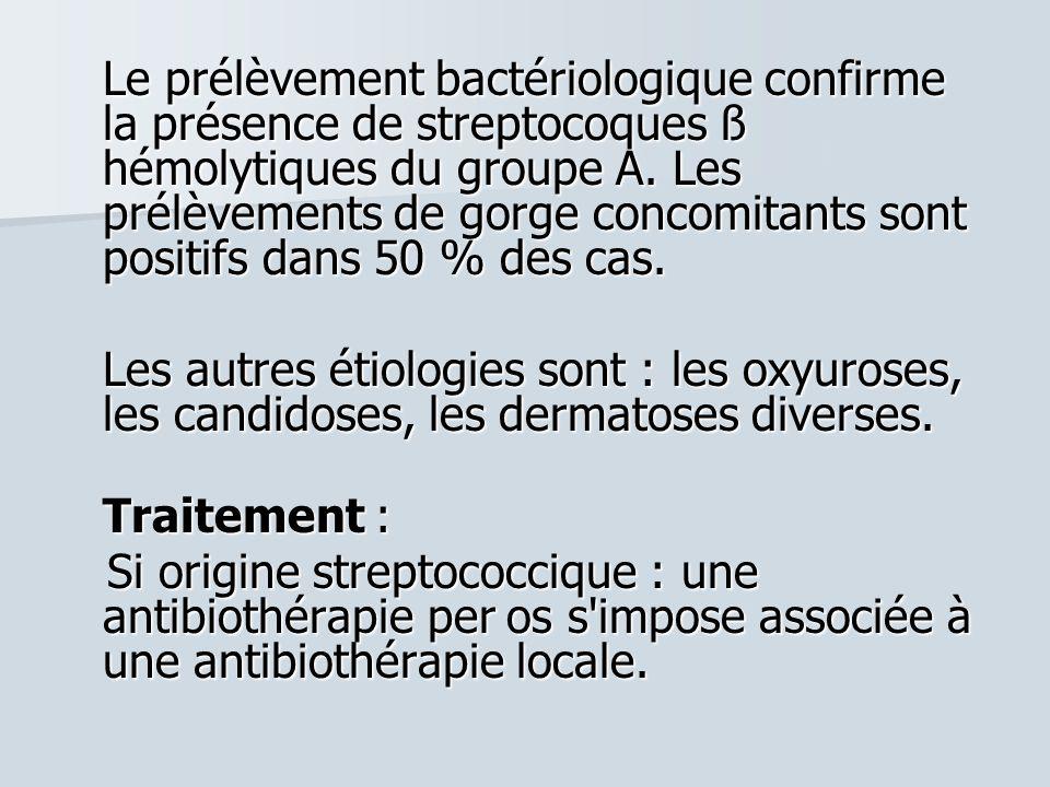 Le prélèvement bactériologique confirme la présence de streptocoques ß hémolytiques du groupe A. Les prélèvements de gorge concomitants sont positifs