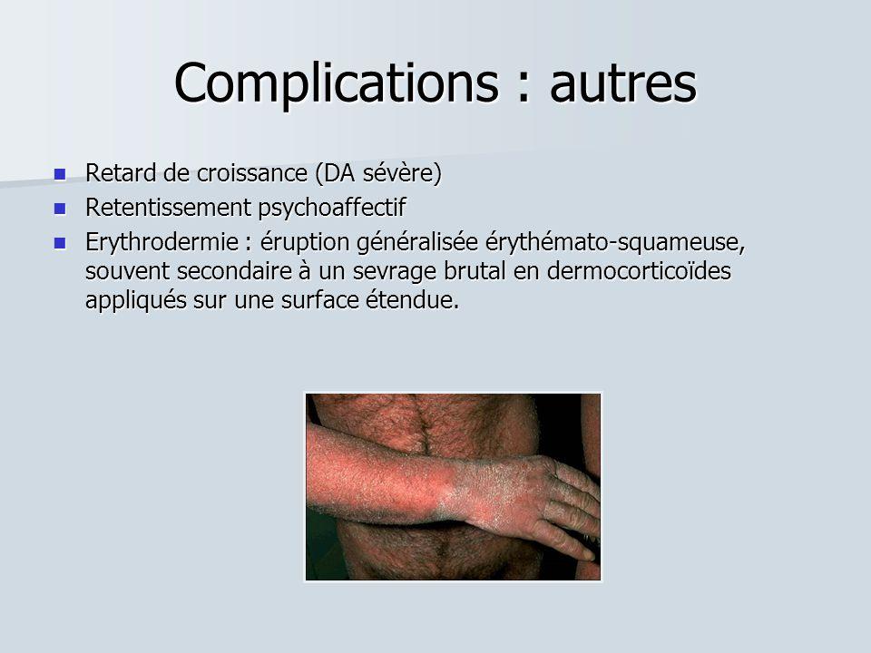 Complications : autres Retard de croissance (DA sévère) Retard de croissance (DA sévère) Retentissement psychoaffectif Retentissement psychoaffectif E