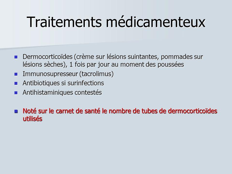 Traitements médicamenteux Dermocorticoïdes (crème sur lésions suintantes, pommades sur lésions sèches), 1 fois par jour au moment des poussées Dermoco
