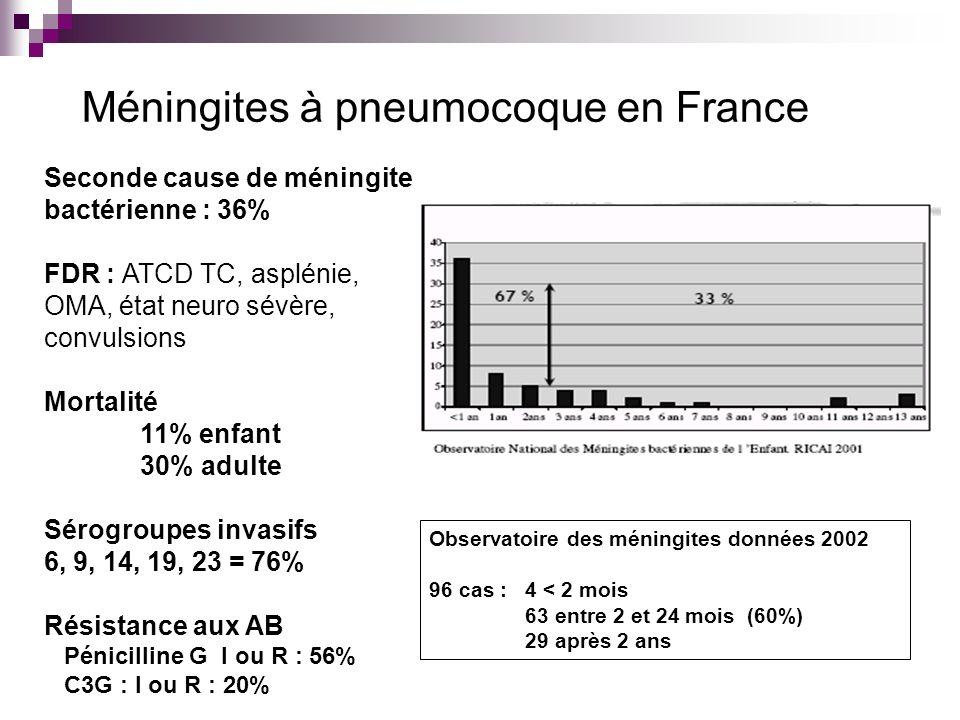 Méningites à pneumocoque en France Seconde cause de méningite bactérienne : 36% FDR : ATCD TC, asplénie, OMA, état neuro sévère, convulsions Mortalité