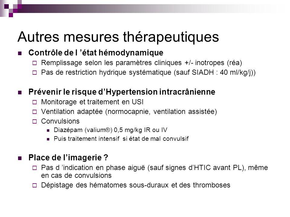 Autres mesures thérapeutiques Contrôle de l état hémodynamique Remplissage selon les paramètres cliniques +/- inotropes (réa) Pas de restriction hydri
