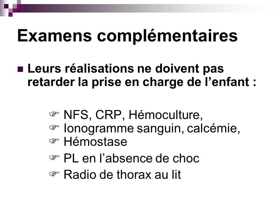 Examens complémentaires Leurs réalisations ne doivent pas retarder la prise en charge de lenfant : NFS, CRP, Hémoculture, Ionogramme sanguin, calcémie