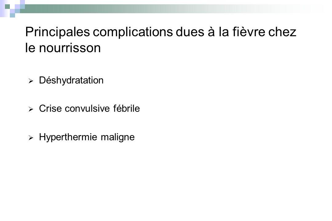 Principales complications dues à la fièvre chez le nourrisson Déshydratation Crise convulsive fébrile Hyperthermie maligne