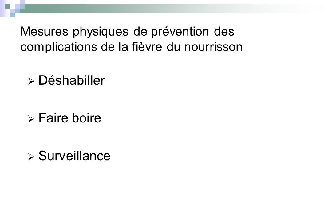Mesures physiques de prévention des complications de la fièvre du nourrisson Déshabiller Faire boire Surveillance