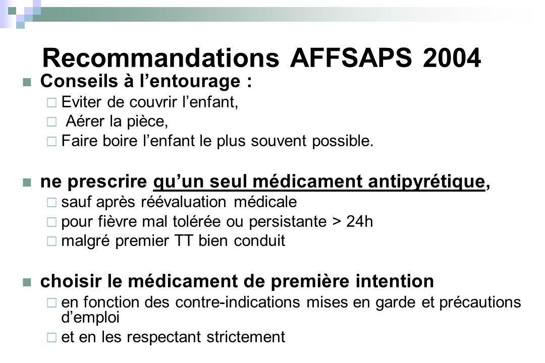 Recommandations AFFSAPS 2004 Conseils à lentourage : Eviter de couvrir lenfant, Aérer la pièce, Faire boire lenfant le plus souvent possible. ne presc