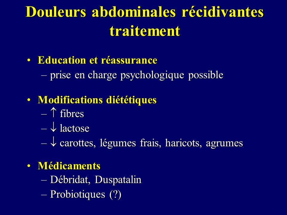 Douleurs abdominales récidivantes traitement Education et réassuranceEducation et réassurance –prise en charge psychologique possible Modifications di