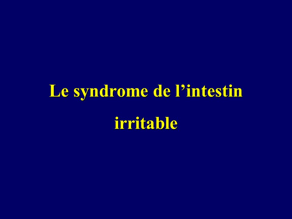 Le syndrome de lintestin irritable
