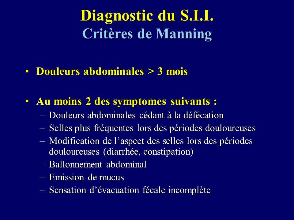 Diagnostic du S.I.I. Critères de Manning Douleurs abdominales > 3 moisDouleurs abdominales > 3 mois Au moins 2 des symptomes suivants :Au moins 2 des