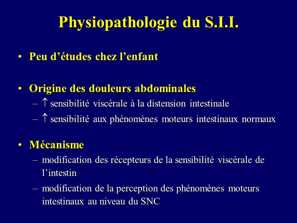 Physiopathologie du S.I.I. Peu détudes chez lenfant Origine des douleurs abdominalesOrigine des douleurs abdominales – sensibilité viscérale à la dist